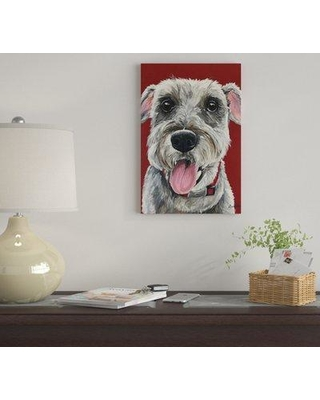 """East Urban Home 'Schnauzer On Red' by Hippie Hound Studios Graphic Art Print on Wrapped Canvas EUME4786 Size: 26"""" x 18"""" x 0.75"""""""