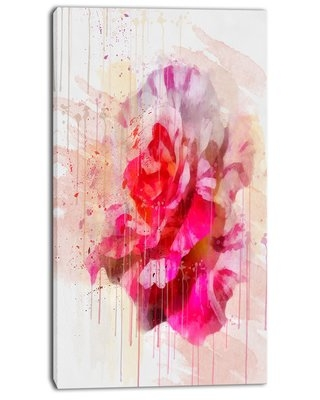 """'Red Rose with Watercolor Splashes' Painting Print on Wrapped Canvas Design Art Size: 32"""" H x 16"""" W x 1"""" D"""