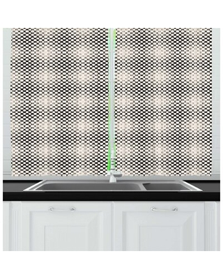 Geometric Continuing Illustration of Abstract Circles Squares and Dots Kitchen Curtain East Urban Home