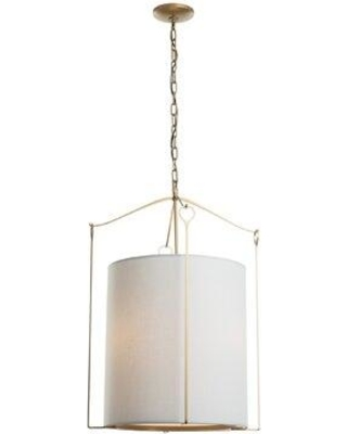 Hubbardton Forge Bow 3-Light Drum Pendant 104260-SKT Finish: Soft Gold Shade Color: Light Gray
