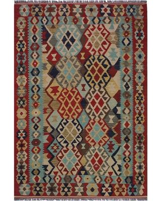 Kilim Cameron Beige/Red Hand-Woven Wool Rug -5'2 x 6'8 - 5 ft. 2 in. X 6 ft. 8 in.