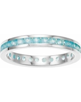 Traditions Sterling Silver Channel-Set Apatite Birthstone Ring, Women's, Size: 6, Blue