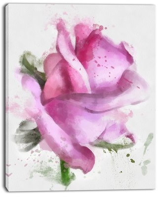 """'Pink Rose Drawing Watercolor' Painting Print on Wrapped Canvas Design Art Size: 40"""" H x 30"""" W x 1"""" D"""