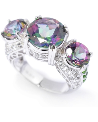 Pinctore 925 Sterling Silver Chrome Diopside,Mystic Topaz,White Topaz Ring