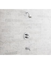 Warby Thermostatic Cross-Handle Bathtub & Shower Faucet Set, Chrome Finish