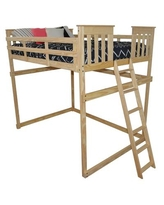 Pine Full Mission Loft Bed with End Ladder