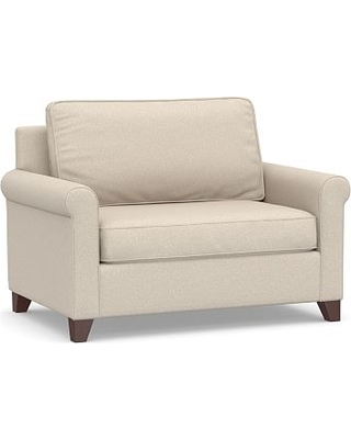 Cameron Roll Arm Upholstered Twin Sleeper Sofa, Polyester Wrapped Cushions, Textured Twill Khaki