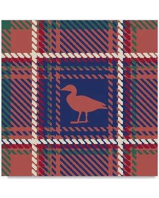 "Trademark Fine Art 'Lodge Duck Plaid Rust' Graphic Art Print on Wrapped Canvas ALI20727-C Size: 35"" H x 35"" W"