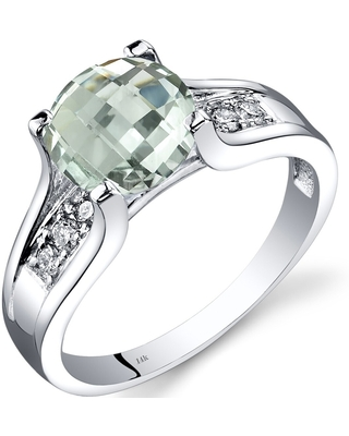 14K White Gold 1.75 ct Green Amethyst Diamond Cathedral Ring, Size 7