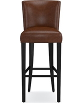 Trevor Bar Stool, Ebony, Italian Distressed Leather, Caramel