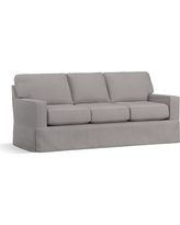 """Buchanan Square Arm Slipcovered Sofa 83.5"""", Polyester Wrapped Cushions, Performance Twill Metal Gray"""