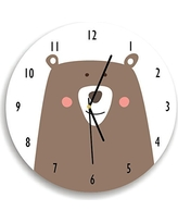 Kid'O Design Studio Woodland Bear Wall Clock, Silent Non-ticking Wall Clock, Decorative Kids room Clock ,Battery Operated Wall Clocks, White and Brown, 10.62 inches