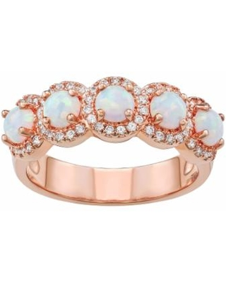 14k Rose Gold Over Silver Lab-Created White Opal Ring, Women's, Size: 6