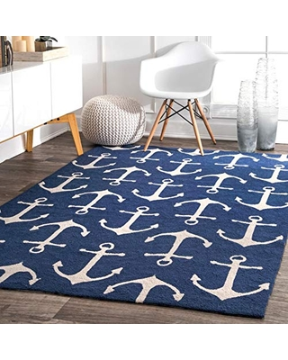 nuLOOM Despina Hand Hooked Indoor/Outdoor Area Rug, 6' Square, Navy