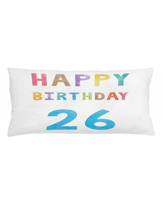 """26Th Birthday Indoor / Outdoor Lumbar Pillow Cover East Urban Home Size: 16"""" x 36"""""""