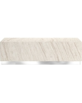 Travertine Rectangle Coffee Table, Travertine, Sand, Stainless Steel