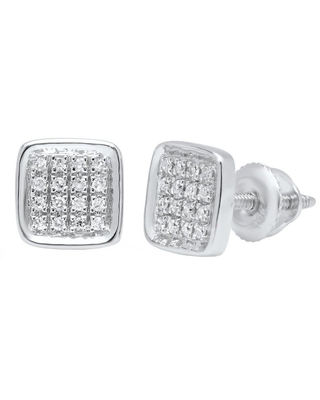 Dazzling Rock Dazzlingrock Collection 0.09 Carat (ctw) 10K Round White Diamond Micro Pave Square Shape Stud Earrings, White Gold