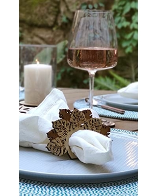 Set of Monstera Deliciosa Wood Napkin Rings - Nature Collection (Set of 6)