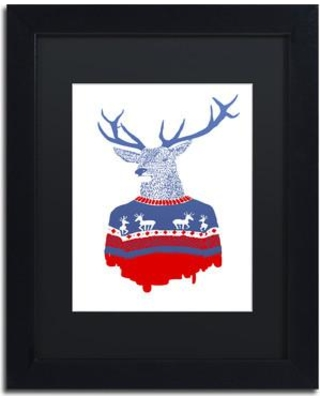 "Trademark Art 'Ugly Winter Pullover' Matted Framed Painting Print on Canvas ALI2289-B1 Size: 14"" H x 11"" W x 0.5"" D Matte Color: Black"