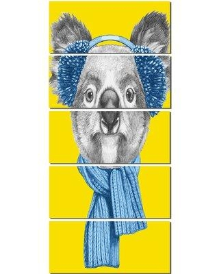 Design Art 'Koala with Scarf and Earmuffs' 5 Piece Graphic Art on Wrapped Canvas Set PT13186-401V