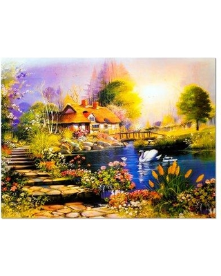 """Design Art House near the Lake Swans Landscape Painting Print on Wrapped Canvas PT6086- Size: 30"""" H x 40"""" W x 1"""" D"""