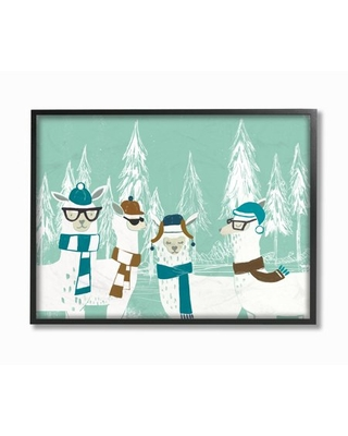 The Stupell Home Decor Collection Holiday Llamas in Hats Scarves and Glasses with Pine Trees Framed Giclee Texturized Art, 11 x 1.5 x 14