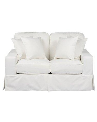 Check Out Deals On Darby Home Co Elsberry Box Cushion Loveseat Slipcover Upholstery White Polyester Polyester Blend In Gray White Size 36 H X 62 W X 38 D Wayfair