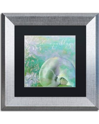 "Trademark Art 'Painted Sea II' by Color Bakery Framed Graphic Art ALI4285-S1 Size: 11"" H x 11"" W x 0.5"" D Mat Color: Black"