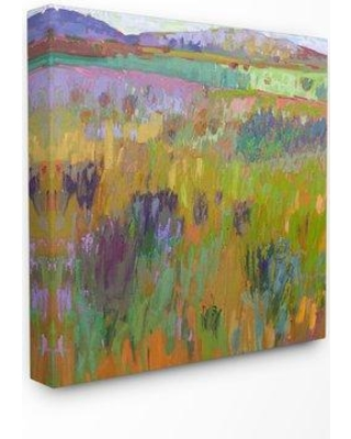 """Ebern Designs 'Pastel Painterly Fields and Flowers Landscape' Graphic Art Print W000517868 Format: Wrapped Canvas Size: 30"""" H x 30"""" W x 1.5"""" D"""