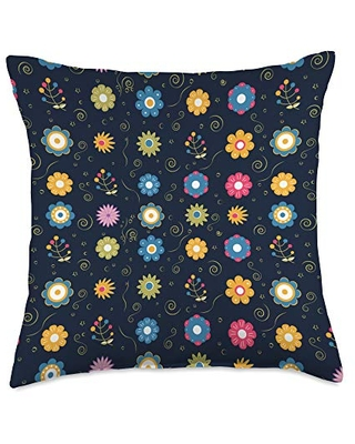 Floral Decorative and Throw Pillows Floral Pattern Navy Blue Throw Pillow, 18x18, Multicolor