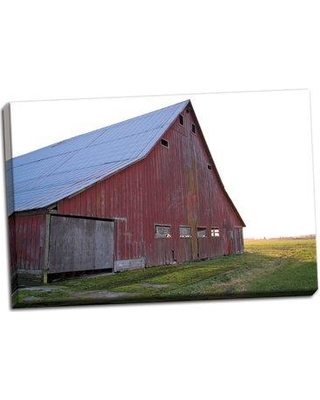 August Grove 'Red Barn at Sunset' Photographic Print on Wrapped Canvas BF052184