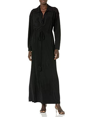 Taylor Dresses Women's Long Sleeve V-Neck Solid Jersey Maxi Dress with Lace and Tie Waist, Black, 8-9