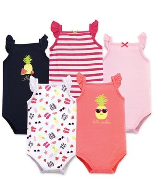 Hudson Baby® Size 9-12M 5-Pack Hello Sunshine Bodysuits in Pink