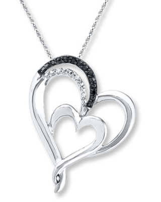 Check Out Some Sweet Savings On Double Heart Necklace Diamond Accents Sterling Silver