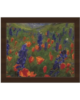 """Click Wall Art 'Alps Flowers' Framed Painting Print LND0000317FRA Size: 10.5"""" H x 12.5"""" W Format: Espresso Framed"""