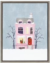 Amazing Deals On The Holiday Aisle Christmas Pink House By Maja Tomljanovic Floater Frame Painting Print On Canvas Canvas Fabric In Brown Blue Pink Wayfair