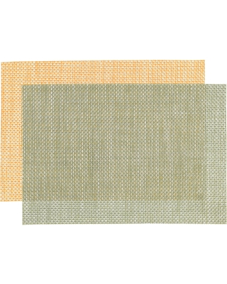 Distressed Woven Reversible Vinyl Placemats Set of 4: Orange - Polyester - Small by World Market