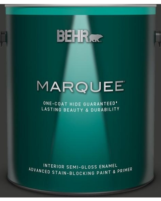 BEHR MARQUEE 1 gal. Home Decorators Collection #HDC-MD-04 Totally Black Semi-Gloss Enamel Interior Paint and Primer