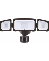 Eco-Star Bronze Triple Flat Face Head LED Security Light