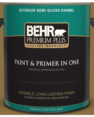 BEHR PREMIUM PLUS 1 gal. #330F-7 Nutty Brown Semi-Gloss Enamel Exterior Paint and Primer in One