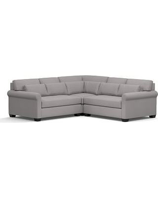 York Roll Arm Upholstered Deep Seat 3-Piece L-Shaped Corner Sectional, Down Blend Wrapped Cushions, Performance Twill Metal Gray
