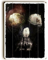 """The Holiday Aisle® 'Cave Skull' Graphic Art Print Format: Planked Wood, Canvas & Fabric/Wood in Brown/Black, Size 20"""" H x 14"""" W x 2"""" D 