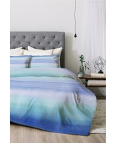 Blue Amy Sia Ombre Watercolor Comforter Set (King) 3pc - Deny Designs