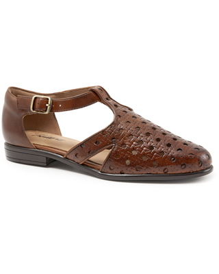 Women's Trotters Leatha Open Weave Skimmer Flat, Size 10.5 M - Brown