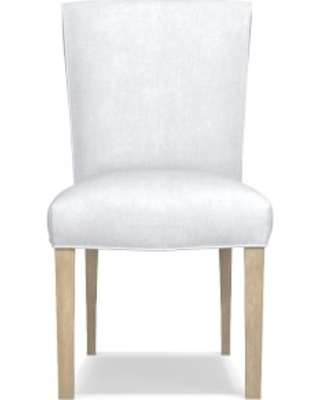 Fitzgerald Dining Side Chair, Chunky Linen, White, Heritage Grey Leg