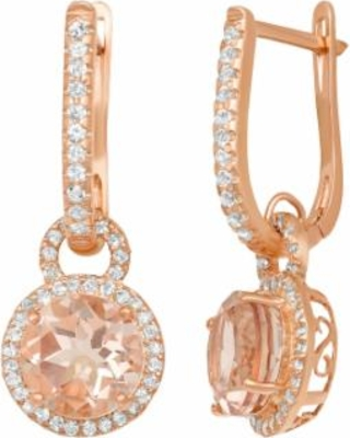 14k Rose Gold Over Silver Simulated Morganite and Lab-Created White Sapphire Halo Drop Earrings, Women's, Pink