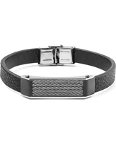 Zales Mens Wood-Textured Carbon Fiber Inlay and Black Leather Bracelet in Stainless Steel with Black IP - 9.5 sVHo0HTh1