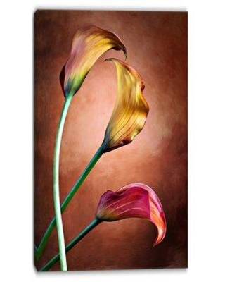 """Design Art Zantedeschia Aethiopica Floral Painting Print on Wrapped Canvas, Canvas & Fabric in Brown/Yellow/Pink, Size 40"""" H x 30"""" W 