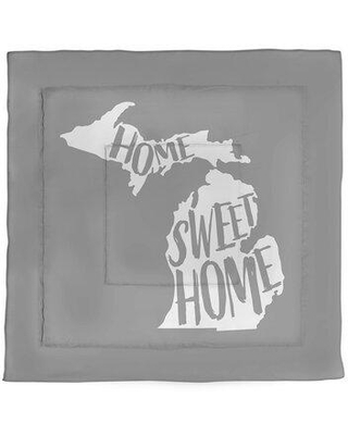 East Urban Home Home Sweet Michigan Single Reversible Comforter FCKG2857 Color: Gray