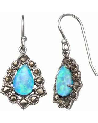 04fee4e10 Tori Hill Simulated Blue Opal and Marcasite Sterling Silver Frame Teardrop  Earrings, Women's, White